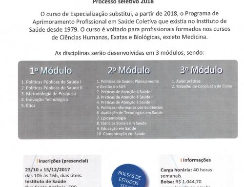 Especialização em Saúde Coletiva – Processo Seletivo 2018